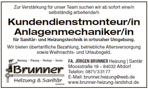 Fa. Jürgen Brunnder, Altdorf - Stellenaziege - Kundendienstmonteur/in Anlagemechaniker/in für Sanitär- und Heizungstechnik.